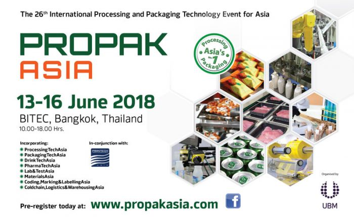 Propak Asia 2018 returns with the latest innovations & technologies for Processing and packaging industries